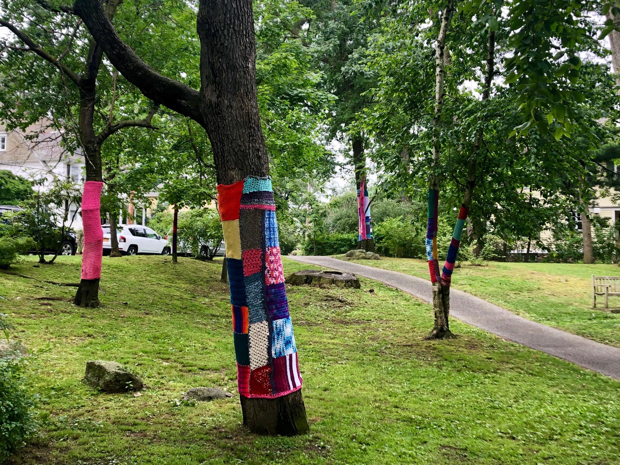 yarn bombing aka knit grafitti in Wolfs Lane Park Pelham NY